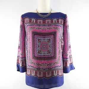 Adrianna Papell Boho Moroccan blouse - size large